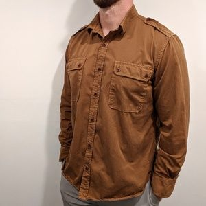 Vince Button Front Military Style Long Sleeve XXL